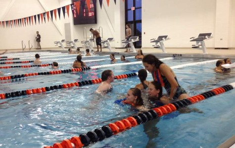 BG students test out the waters of the Natatorium's new pool.