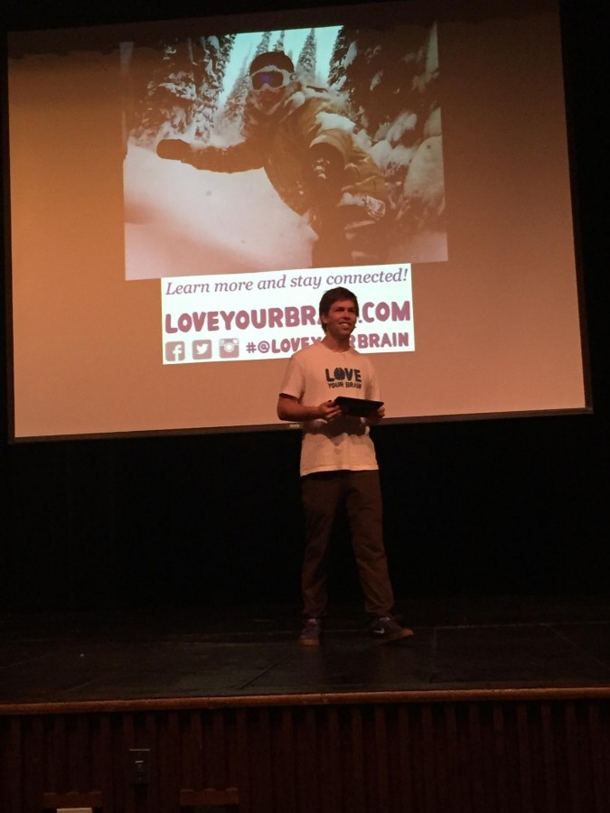Kevin Pearce answers questions following the screening of his documentary,