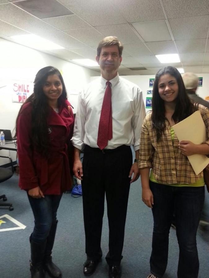 Student interns alongside democrat congressmen Schneider.