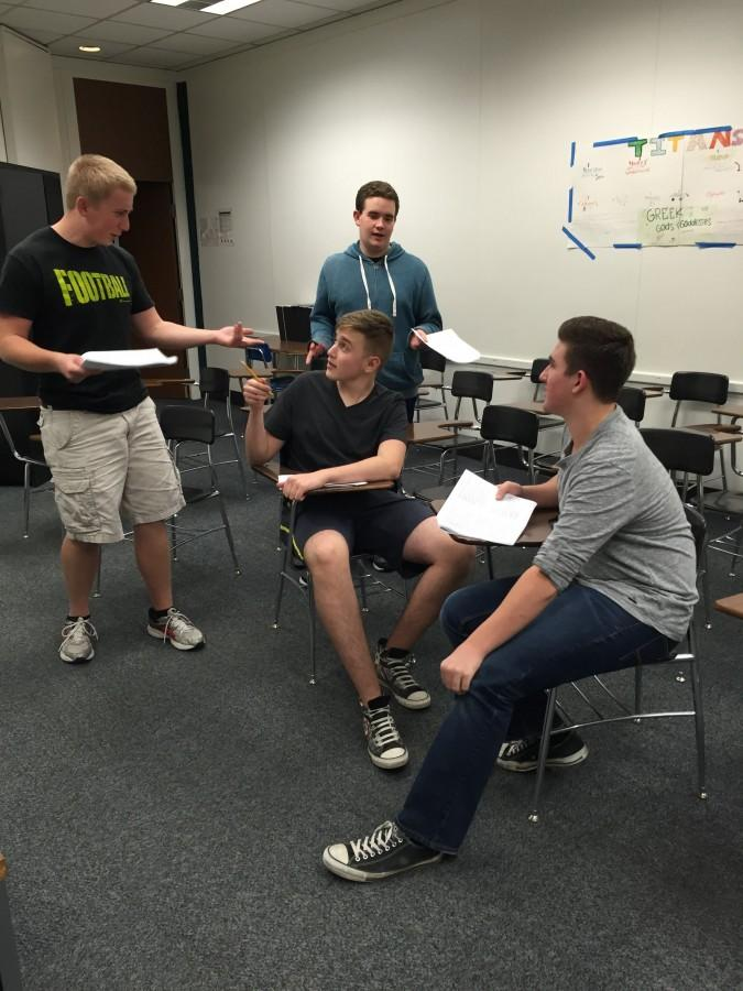 Seniors Mark Ellis, Jeremy Hamburger, junior Josh Levinson and sophomore Andrew Reitman prepare for One Act auditions.