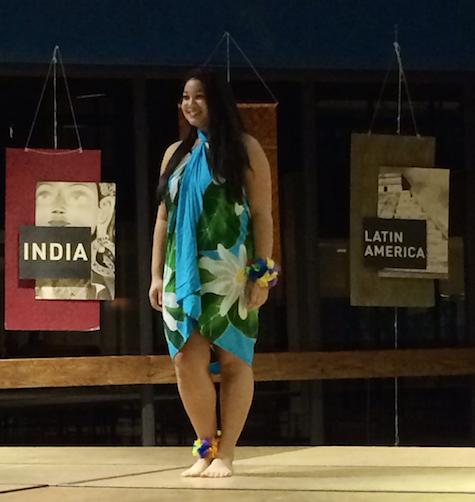 Junior Christiana Chambers performs a Hawaiian dance.