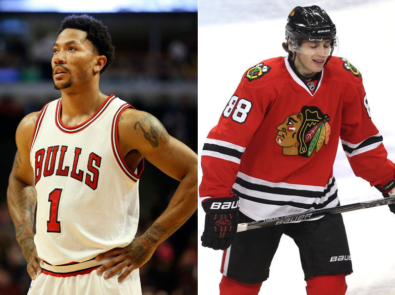 Bulls+player+Derrick+Rose+and+Hawks+player+Patrick+Kane.
