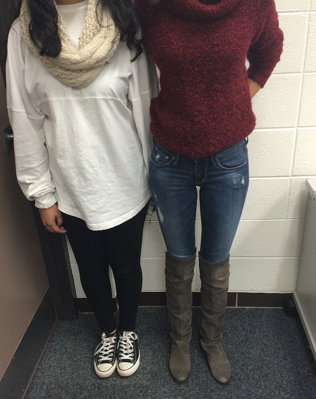 Students showcasing leggings and jeans.