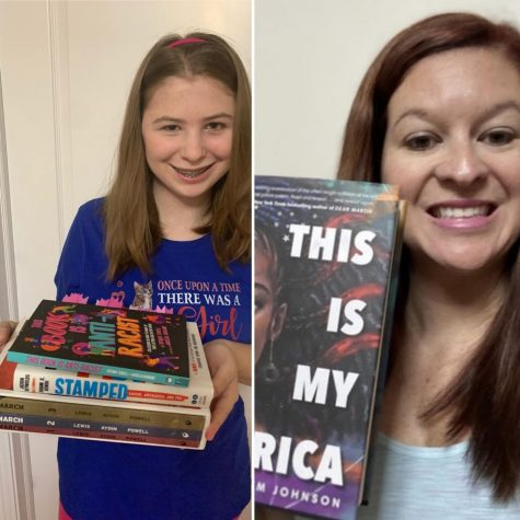"Left: Emily Luethy holds up her stack of antiracist books. Right: Mrs. McCleish displays her copy of ""This is My America"""
