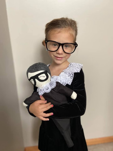 Mrs. McCleish's five-year-old daughter dresses up as Ruth Bader Ginsberg.