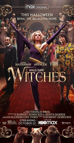 "Anne Hathaway strikes as pose in the movie poster for recent film, ""The Witches""."