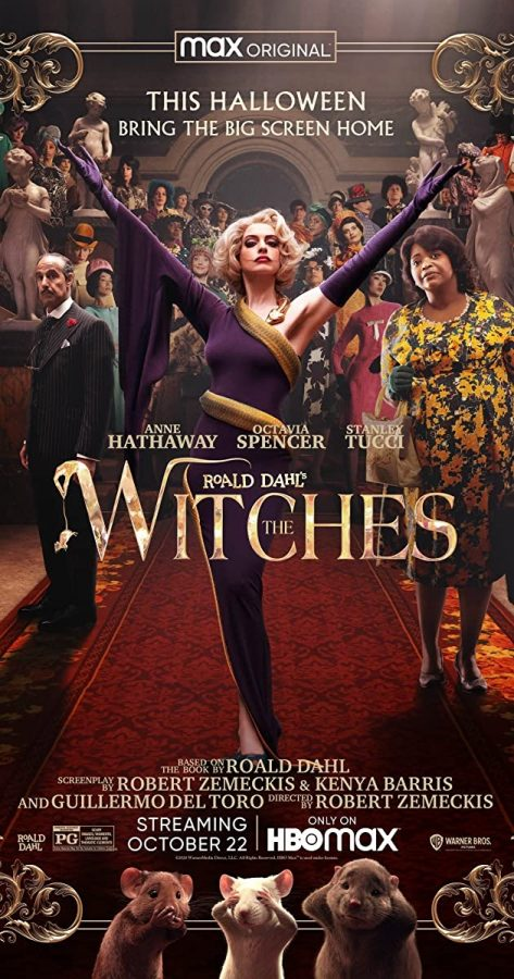 Anne+Hathaway+strikes+as+pose+in+the+movie+poster+for+recent+film%2C+%22The+Witches%22.