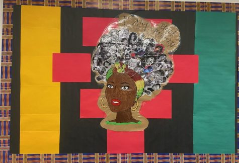 "Black History display in the BG English Division that reads ""I am Black History""."